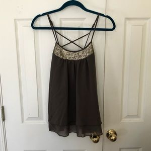 Army green and gold sequin tank top